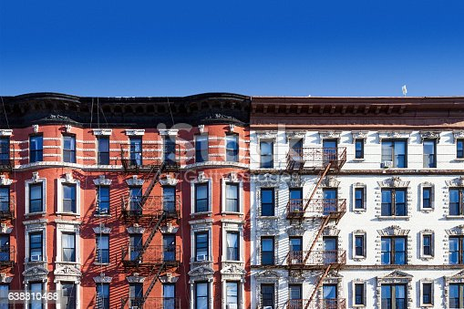 istock Old building in New York City with blue sky background 638310468