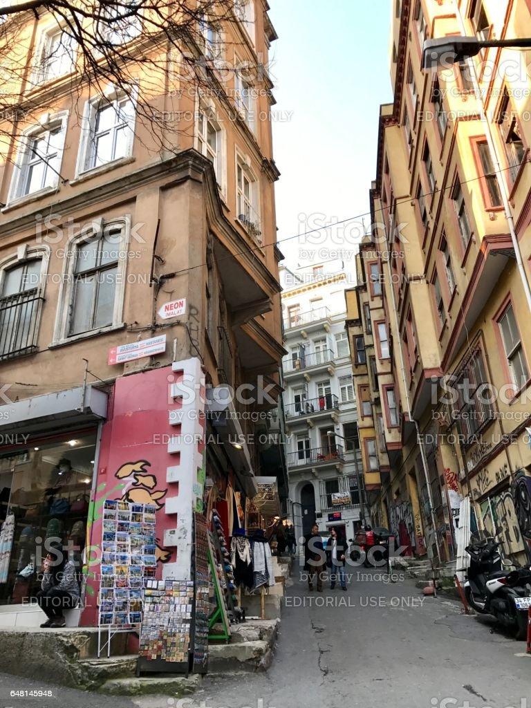 Old building in the Galata District stock photo
