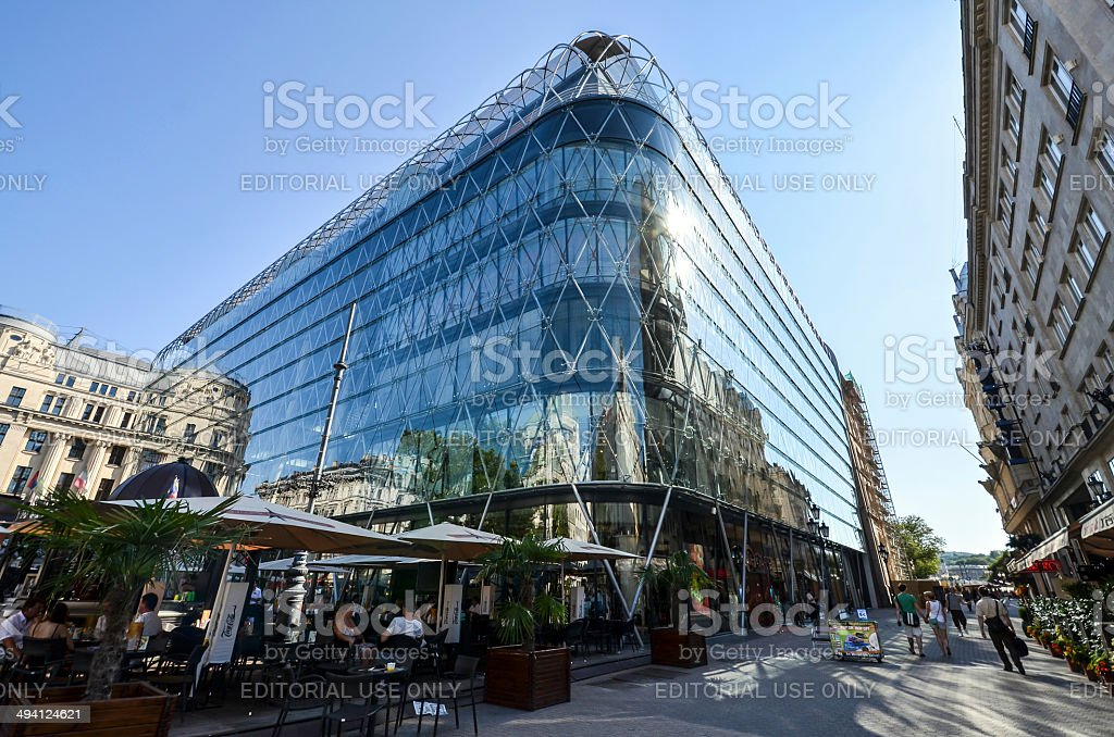 Old building reflect in new stock photo