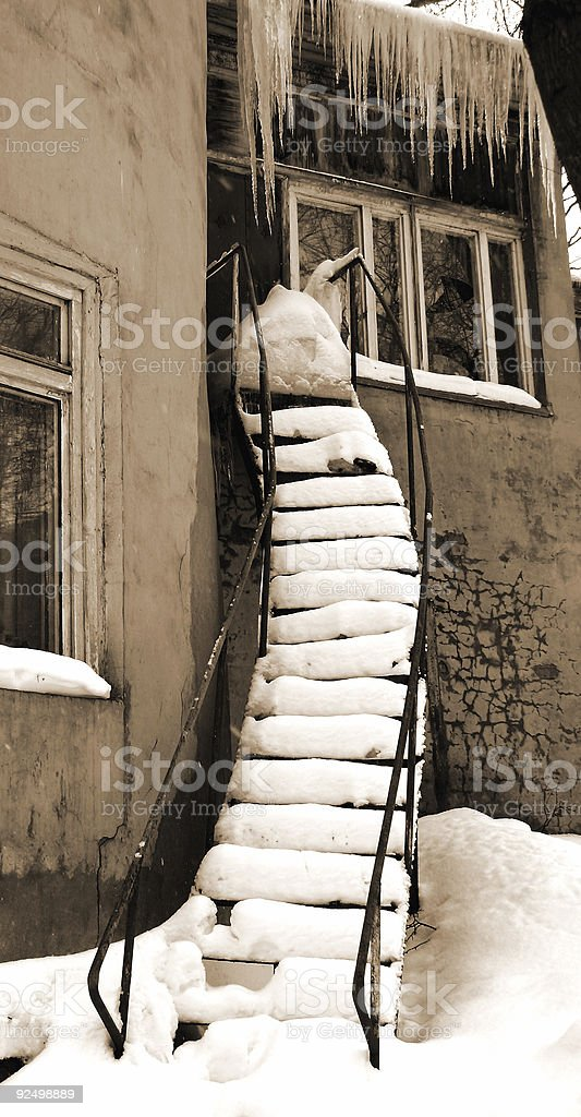 Old building. Sepia. Stairs. royalty-free stock photo
