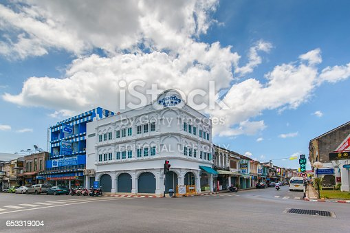 istock PHUKET, THAILAND - SEPTEMBER 28, 2014 : Old building Sino Portuguese style in Phuket on September 18, 2014 in Phuket, Thailand. Old building is a very famous tourist destination of Phuket. 653319004