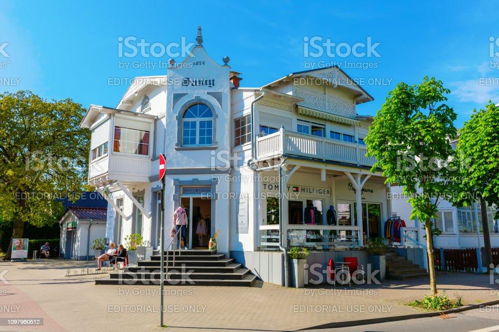 old building with apparel store in Binz, Ruegen. Binz is the largest...