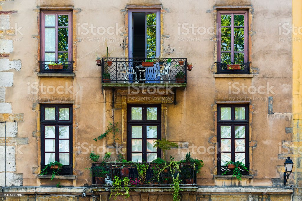 old building with balcony in Lyon stock photo