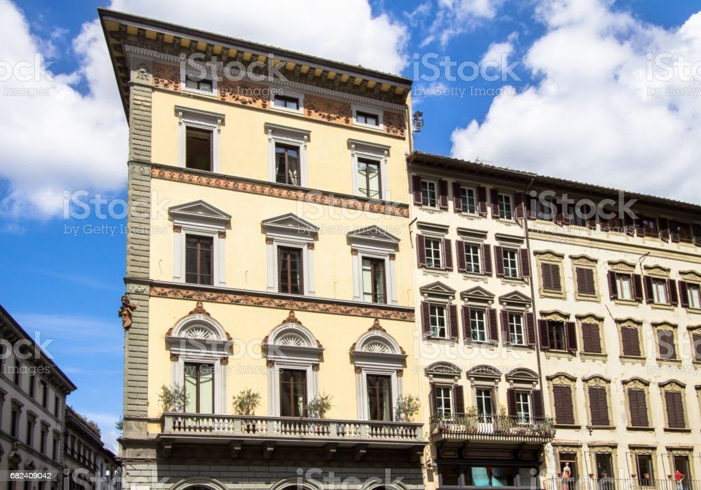 Old building with shutters in Florence, Italy royalty-free stock photo