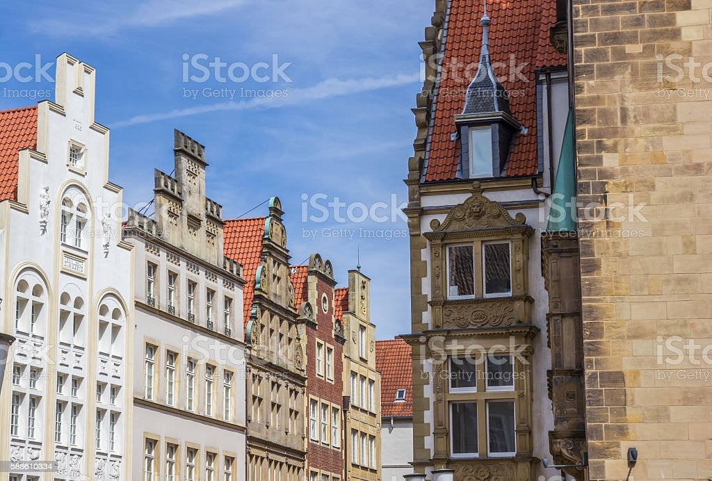 Old buildings at the Prinzipal market square in Munster stock photo