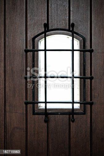 A brown color door of old building