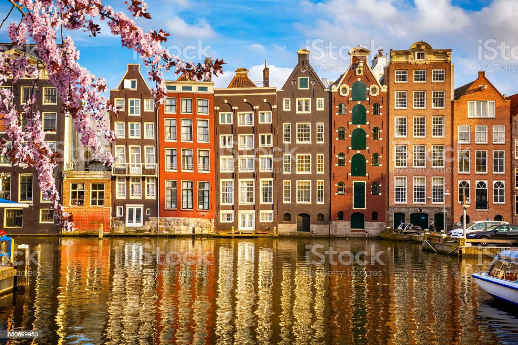 Old buildings in Amsterdam at spring stock photo