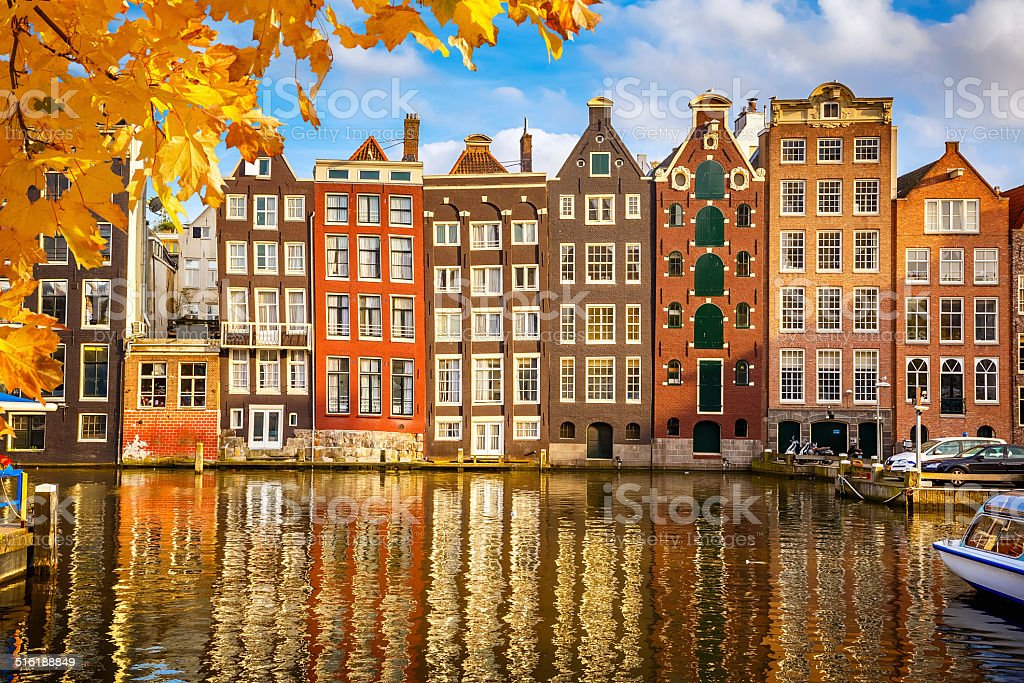 Old buildings in Amsterdam stock photo
