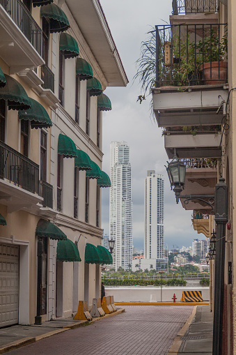 Old buildings in Casco Viejo (Old Town) of Panama City. Skyscrapers in the backgroun