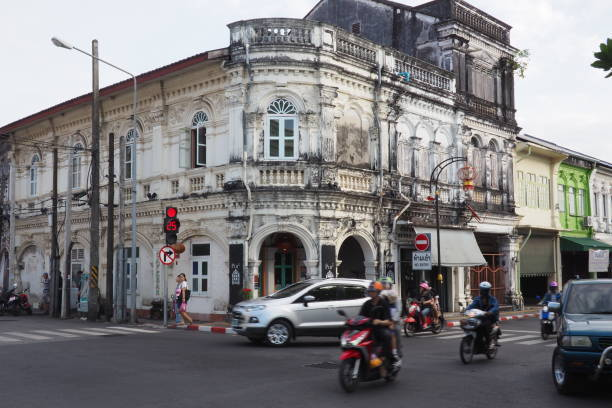 Old buildings in in the small old town of Phuket, Thailand stock photo