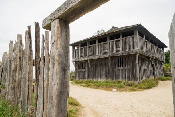 Old buildings in Plimoth plantation at Plymouth, MA stock photo
