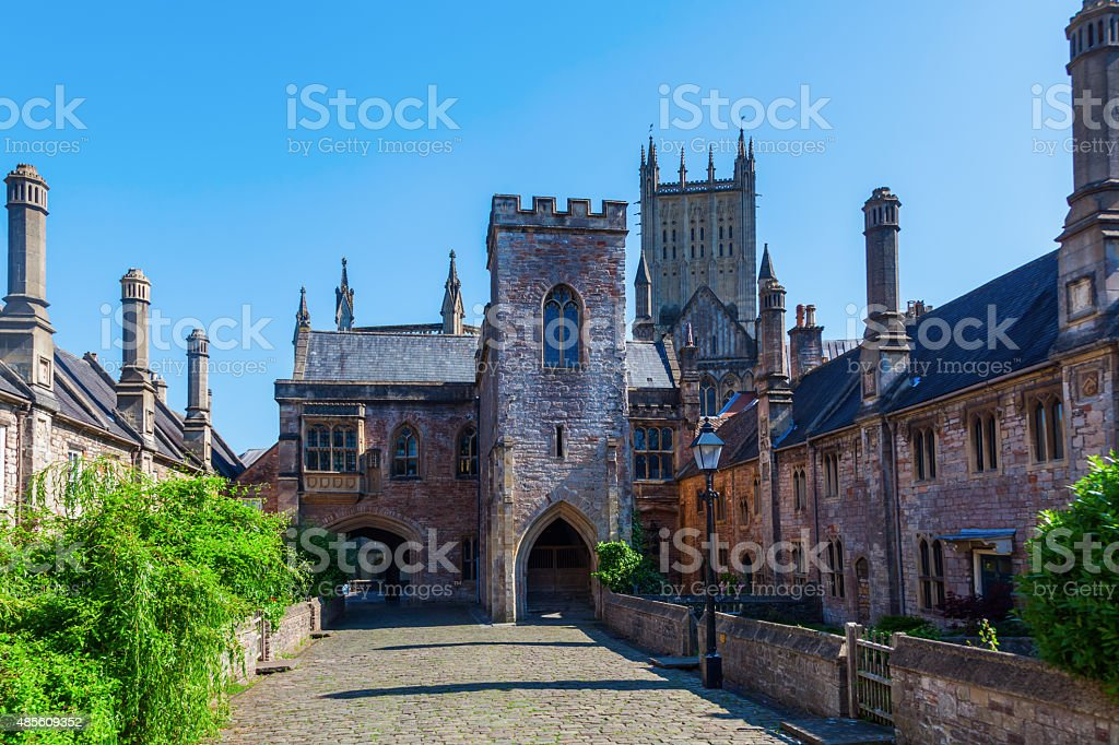 old buildings in Vicars Close, Wells, Somerset, England stock photo