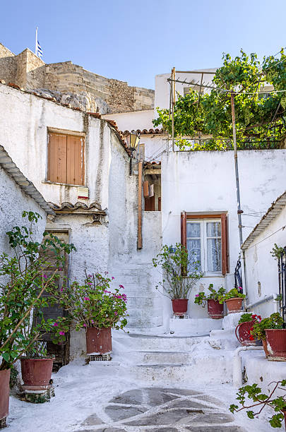 Old buildings under the Acropolis in Anafiotika neighborhood, Athens, Greece stock photo