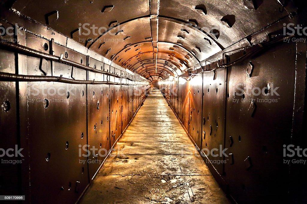 Old bunker's corridor stock photo