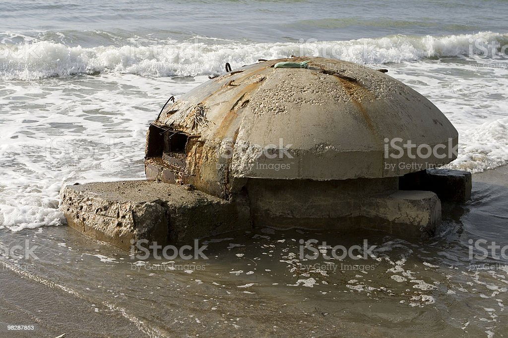 Old bunker's ruins in Durazzo,Albania. royalty-free stock photo