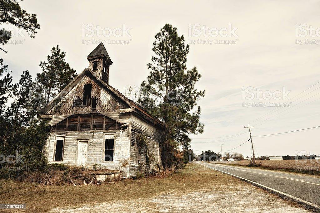 old burnt church stock photo