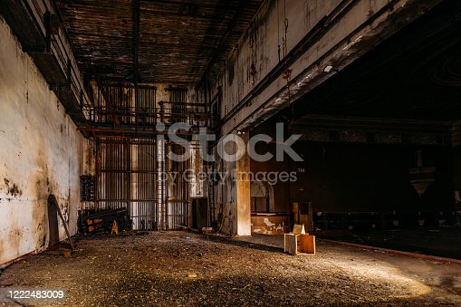 istock Old burnt creepy abandoned ruined haunted theater 1222483009