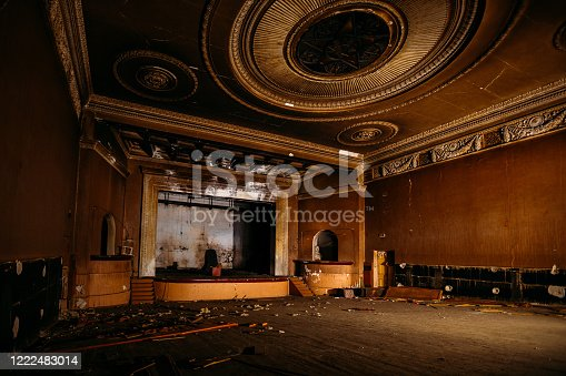 istock Old burnt creepy abandoned ruined haunted theater 1222483014