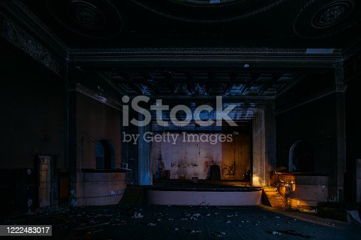 istock Old burnt creepy abandoned ruined haunted theater 1222483017