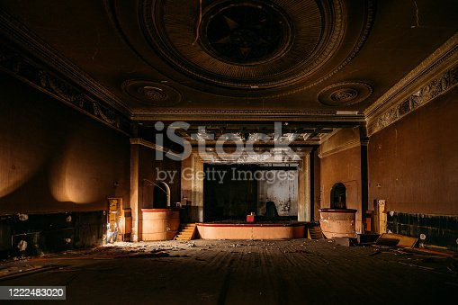 istock Old burnt creepy abandoned ruined haunted theater 1222483020