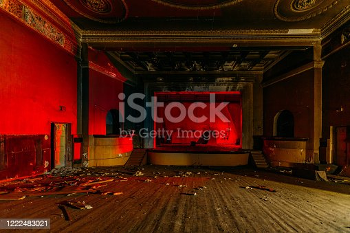 istock Old burnt creepy abandoned ruined haunted theater 1222483021
