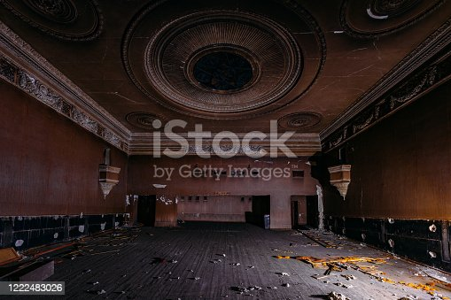 istock Old burnt creepy abandoned ruined haunted theater 1222483026