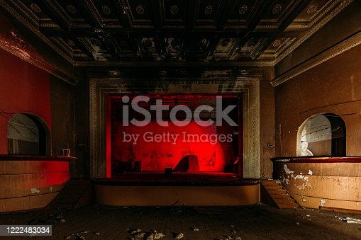 istock Old burnt creepy abandoned ruined haunted theater 1222483034