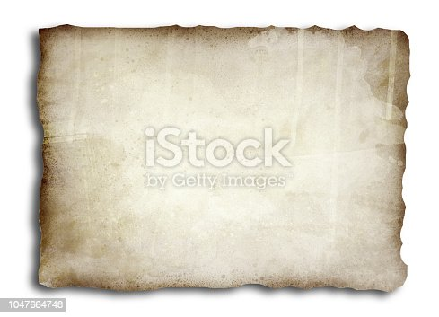 891131294istockphoto Old, burnt paper isolated on white background illustration 1047664748