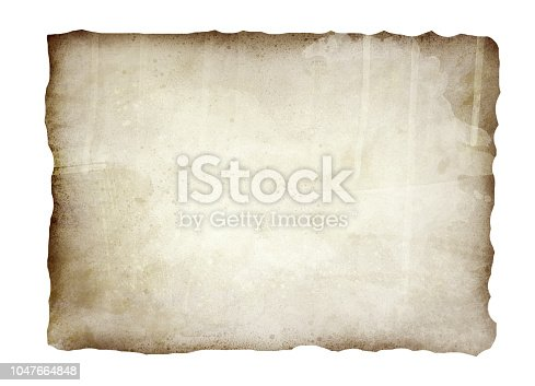 891131294istockphoto Old, burnt paper isolated on white background illustration 1047664848