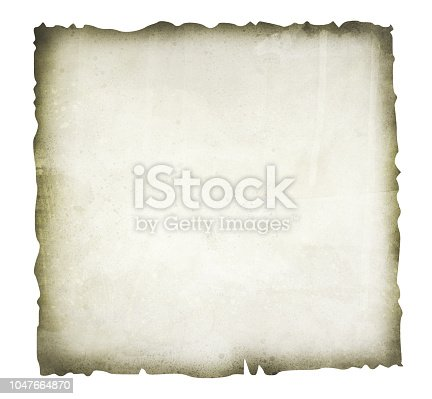 891131294istockphoto Old, burnt paper isolated on white background illustration 1047664870
