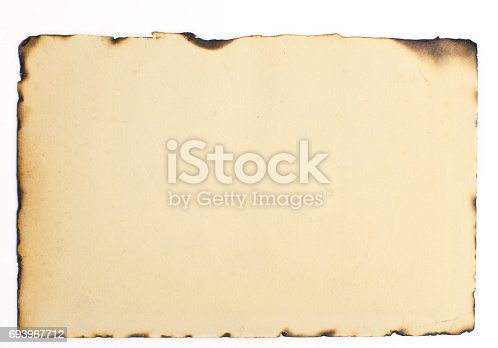 old burnt paper texture on an isolated background