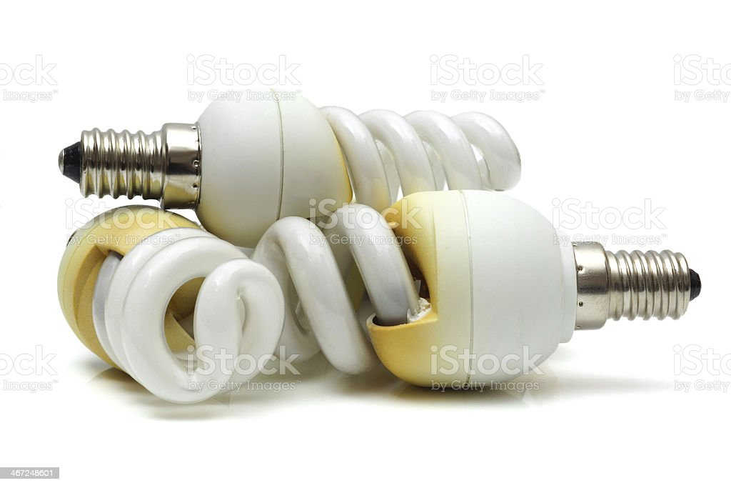 old  burnt used fluorescent incandescent bulbs royalty-free stock photo
