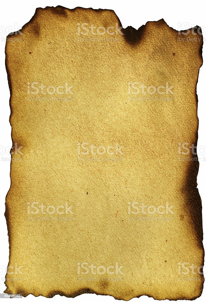 Old Burnt Yellowed paper royalty-free stock photo