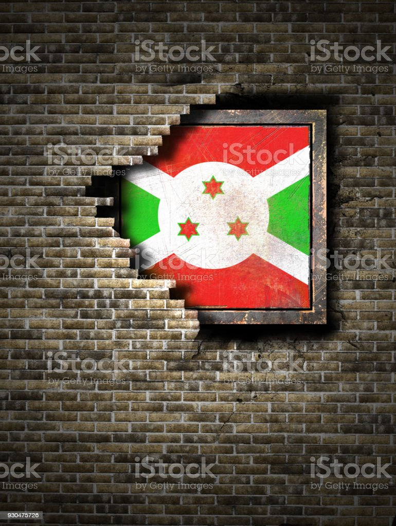 Old Burundi flag in brick wall stock photo