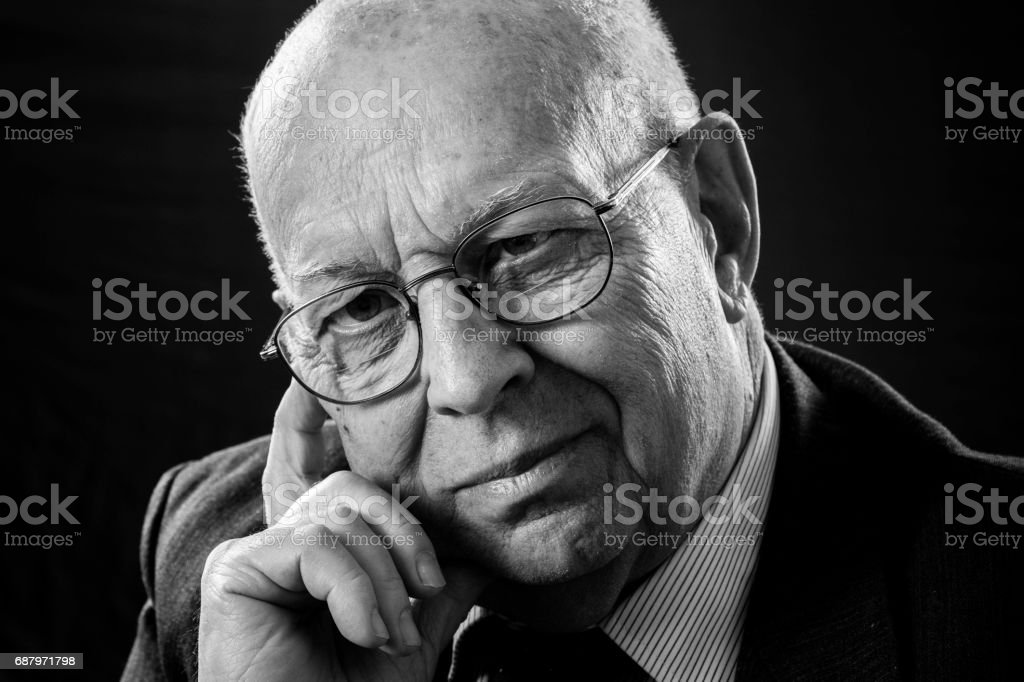 Old Business Man Portrait. Senior CEO Manager. stock photo