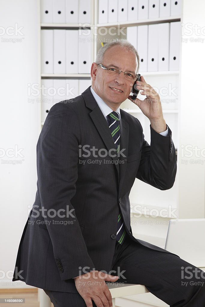 Old Business Mann with Telephone royalty-free stock photo