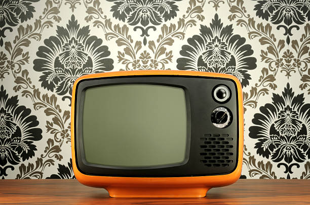 Old BW Tv Old B&W tv. portable television stock pictures, royalty-free photos & images