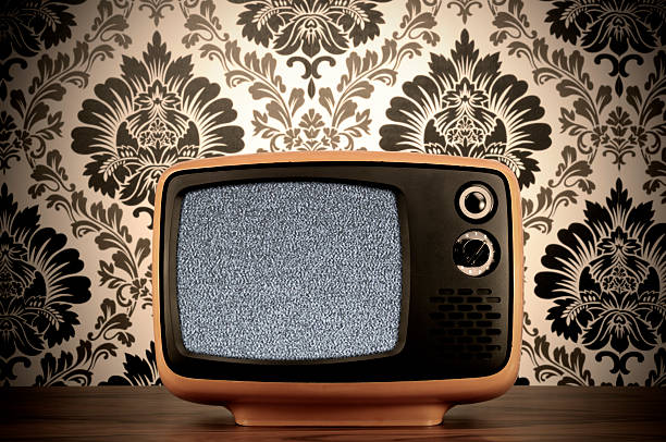 Old BW Tv (clipping path) Old B&W tv.  portable television stock pictures, royalty-free photos & images