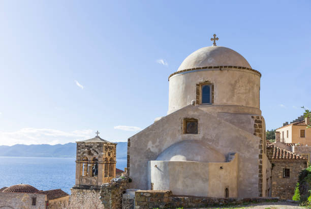 old Byzantine church in town of Monemvasia, Greece stock photo