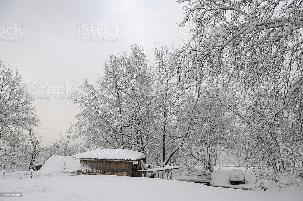 Old Cabin and Winter royalty-free stock photo