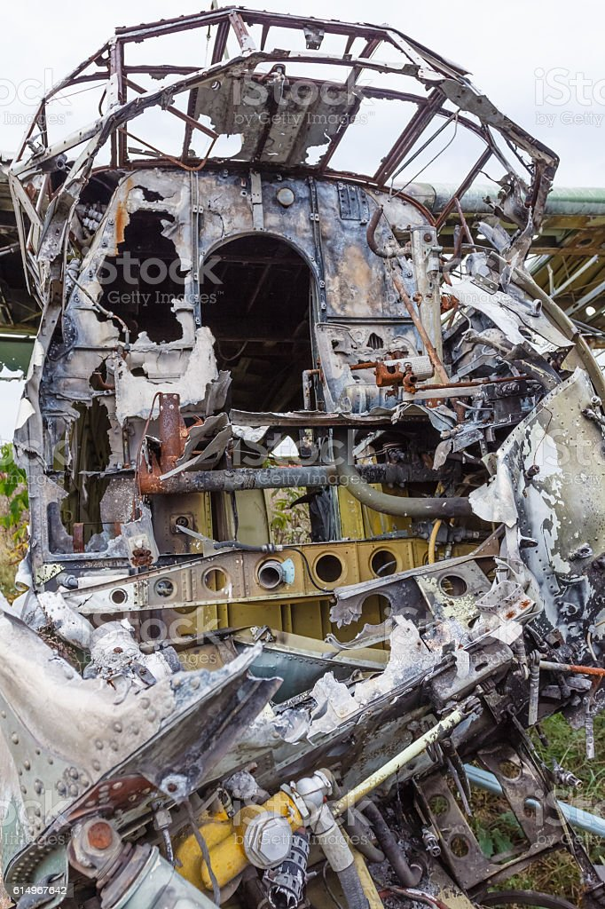 Old cabin crashed Russian plane. stock photo