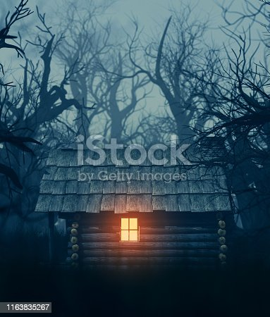 istock old cabin in haunted forest 1163835267