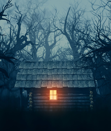 Light from window of an old cabin in haunted forest,3d illustration for your book cover project