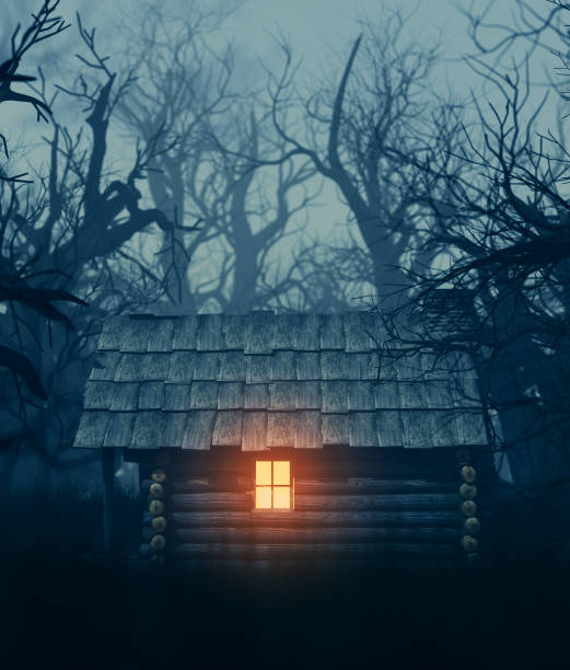 old cabin in haunted forest - isolated house, exterior imagens e fotografias de stock
