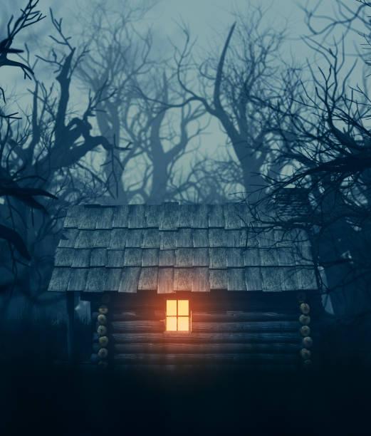 perili ormanda eski kabin - kütük ev stok fotoğraflar ve resimler