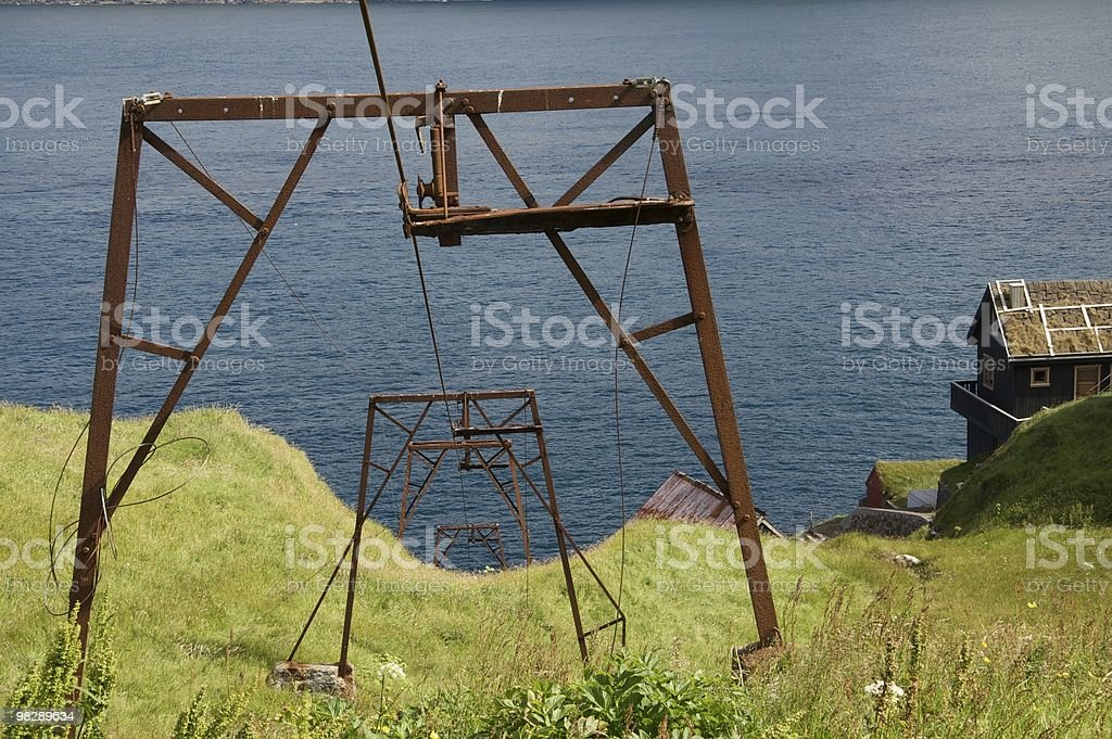 Old cableway at Mikladalur in the Faroes royalty-free stock photo
