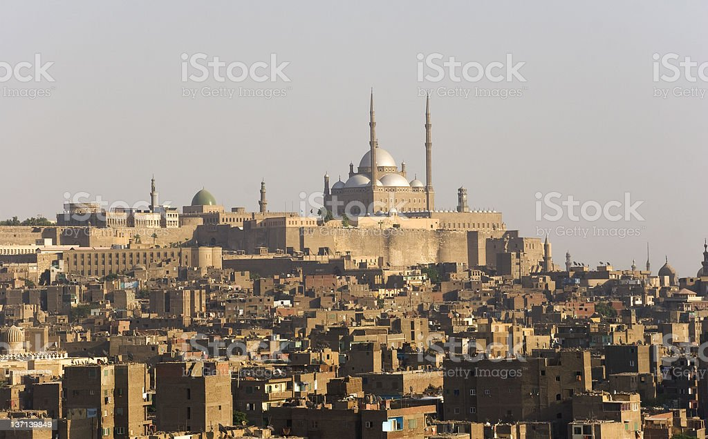 Old Cairo and Mohammad Ali Mosque stock photo