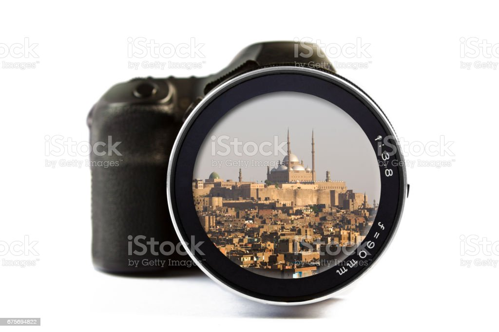 Old Cairo and Mohammad Ali Mosque Seen Through a Lens of a Camera stock photo