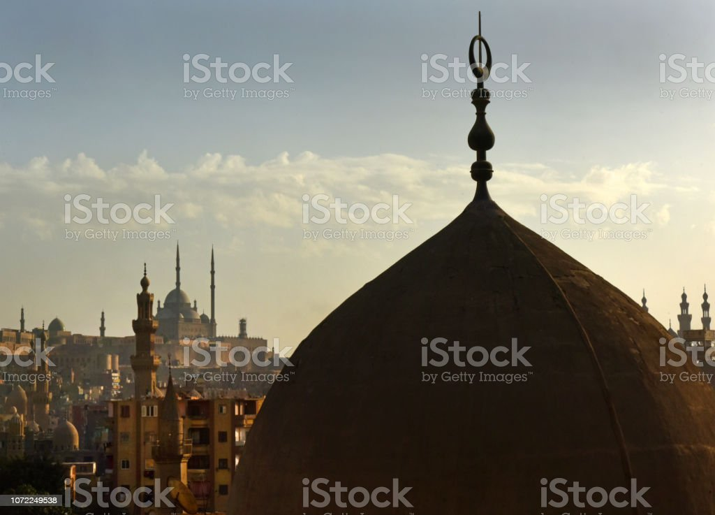 Old Cairo domes and minarets stock photo