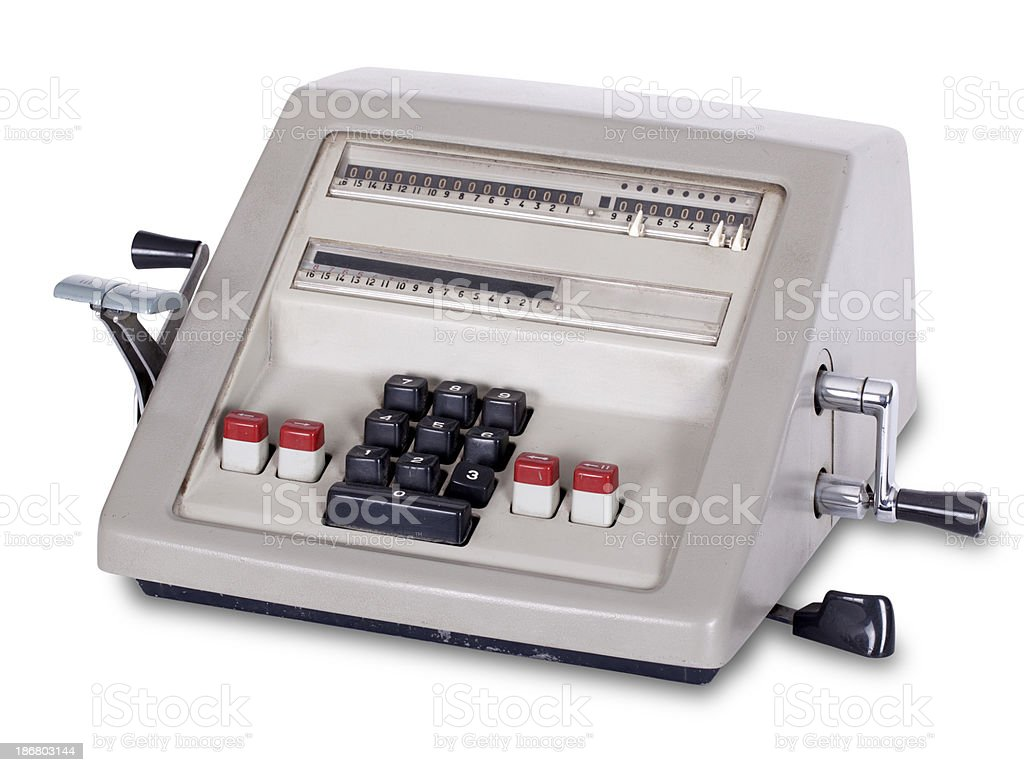 Old Calculator with Clipping Path royalty-free stock photo